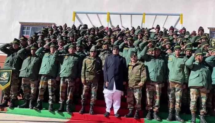 Rajnath Singh chants 'Bharat Mata ki Jai' with jawans at Bum La Pass in Arunachal Pradesh- watch video