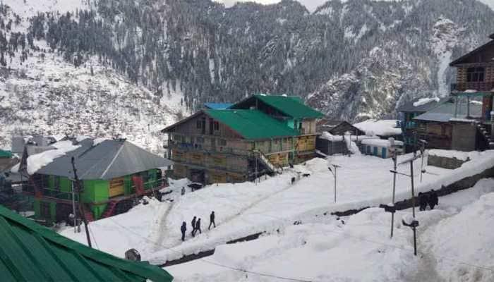 Kullu's Malana village receives snowfall, life comes to standstill