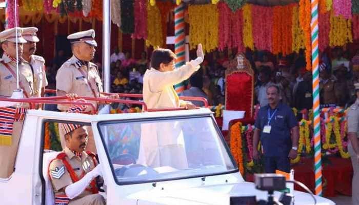 Kiran Bedi unfurls tricolour at R-day celebration in Puducherry