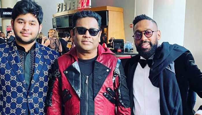 AR Rahman poses with Maroon 5's PJ Morton at Grammys 2020
