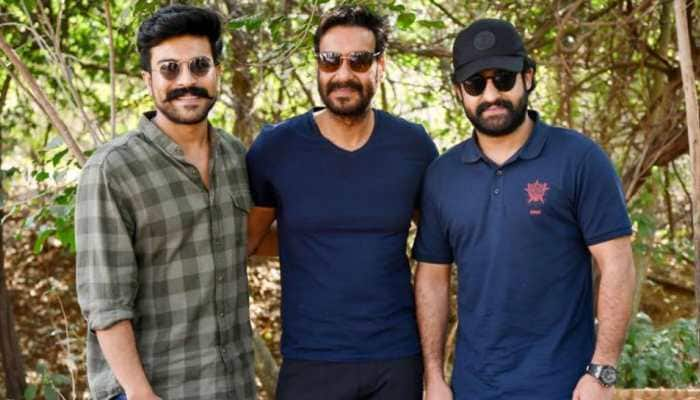 Rajamouli's RRR: This pic of Ajay Devgn with Ram Charan and Jr NTR is breaking the internet