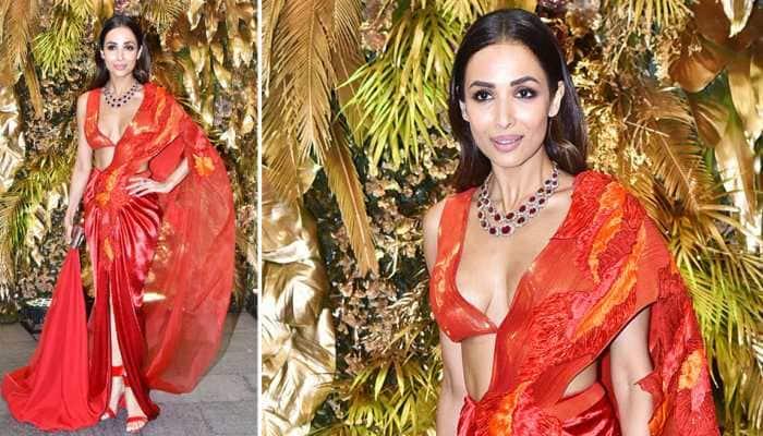 Entertainment News: Malaika Arora raises the temperature in a red hot modern saree look at Armaan Jain's reception