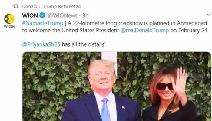 Ahead of visit to India, US President Donald Trump retweets WION news report on his trip