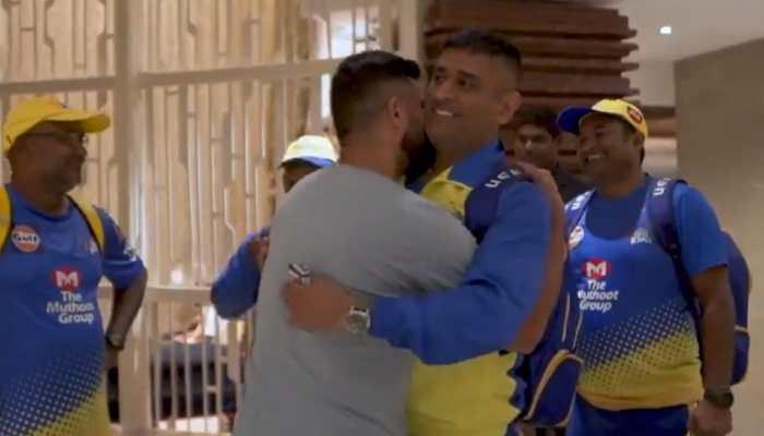 Suresh 'Chinna Thala' Raina hugs 'Thala' Mahendra Singh Dhoni, plants a kiss on his neck as Chennai Super Kings players meet for IPL 2020