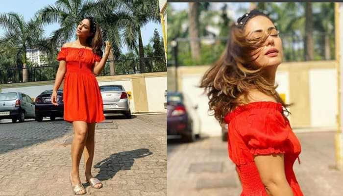 Hina Khan looks like a ray of eternal sunshine in off-shoulder dress - Pics inside