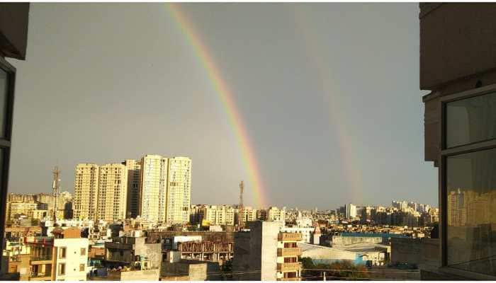 Double rainbows form in skies over Delhi, surrounding areas