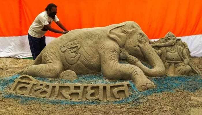 Artist from Bihar's Chhapra makes sand art seeking justice for dead Kerala elephant