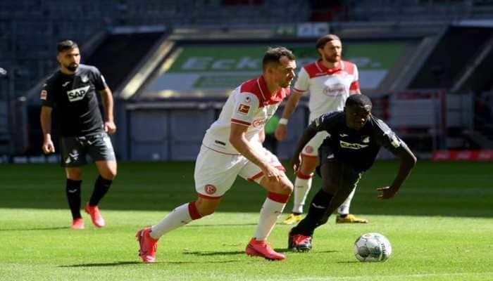 Bundesliga: Rouwen Hennings's brace gives Duesseldorf 2-2 draw with 10-man Hoffenheim