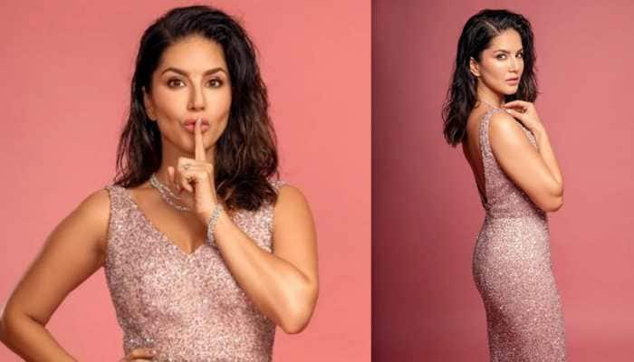 Sunny Leone posts a 'fun at work' pic, looks stunning in a shimmering dress!