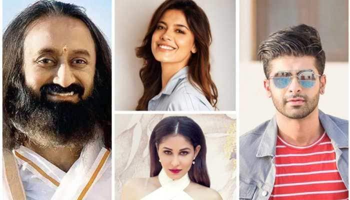 Former Mr India International Darasing Khurana, Asha Bhat and Pooja Chopra interact with Sri Sri Ravi Shankar online