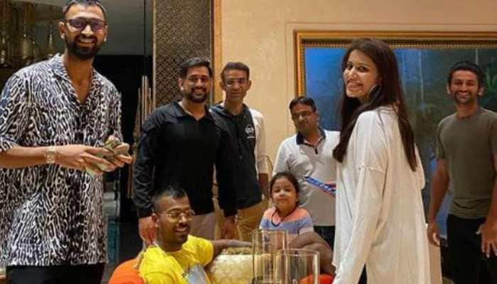 Inside pic from MS Dhoni's birthday celebrations in Ranchi with Hardik Pandya, Krunal Pandya and little Ziva, courtesy Sakshi Dhoni
