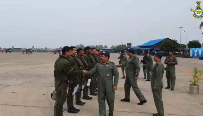 IAF Chief welcomes Rafale fighters, pilots at Ambala airbase, jets accorded ceremonial water salute: Watch video