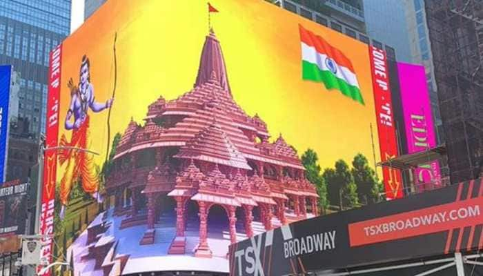 Digital billboard in New York's Times Square lit up with images of proposed Ram Temple and Lord Ram: Watch
