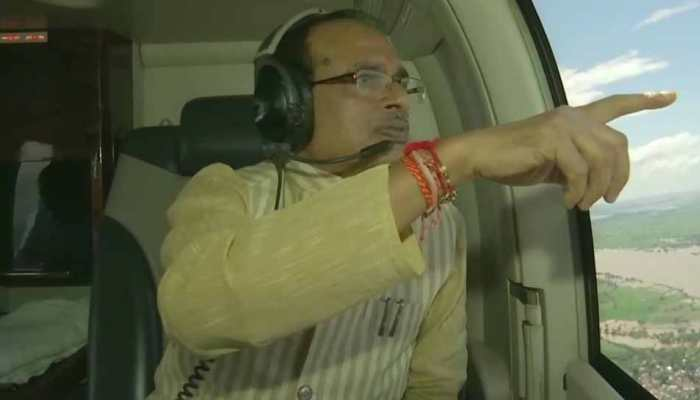Madhya Pradesh CM Shivraj Singh Chouhan takes aerial survey of flood-hit areas; 8 dead, over 7000 evacuated so far