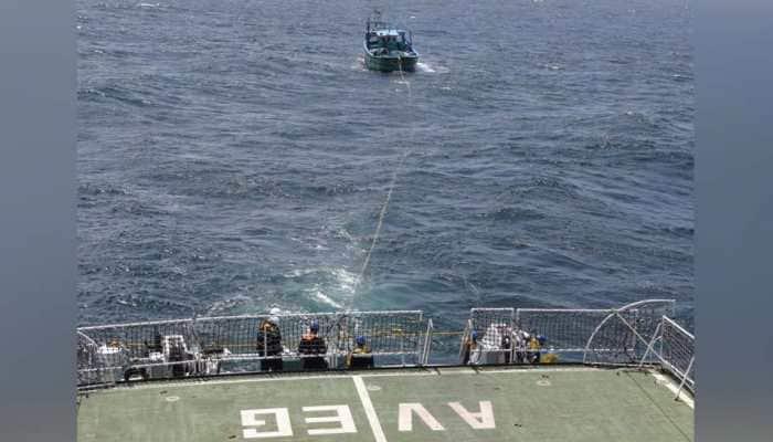 Indian Coast Guard rescues 9 fishermen, boat drifting in Sri Lankan waters