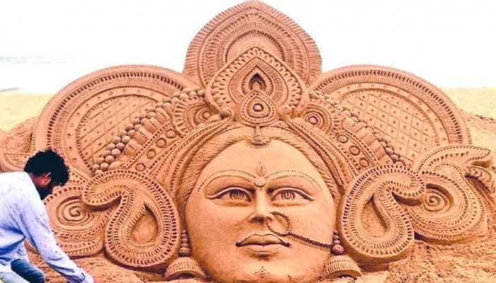 Sudarsan Pattnaik's sand art tribute to goddess Durga on Navratri will leave you awestruck!