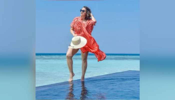 Neha Dhupia dons a pink bikini, makes a splash into the pool during Maldives vacay, see pics