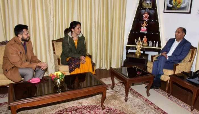 Saina Nehwal, Parupalli Kashyap meet Himachal Pradesh Chief Minister Jai Ram Thakur