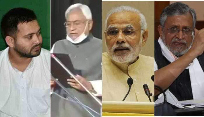 PM Narendra Modi, Tejashwi Yadav, Sushil Kumar Modi congratulate Nitish Kumar on taking oath as Bihar's CM
