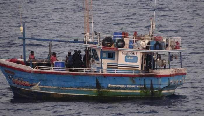 Indian Coast Guard seizes Sri Lankan boat with 100 kg heroin, arrests six crew members