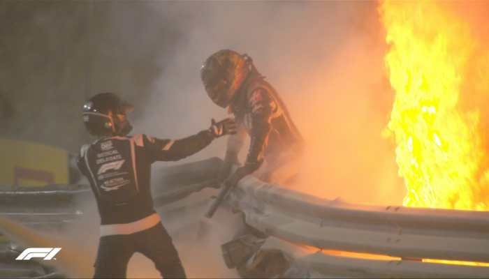 Formula 1, WATCH: Bahrain GP halted as Romain Grosjean's car goes up in flames after crash