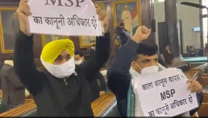 AAP members Sanjay Singh, Bhagwant Mann raise slogans in Parliament, ask PM Narendra Modi to repeal new farm laws