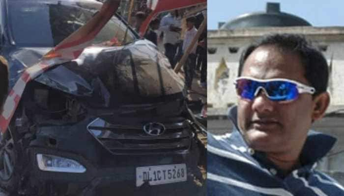 Former Indian skipper Mohammad Azharuddin escapes unhurt after his car rams into a hotel in Rajasthan