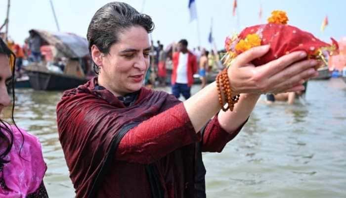 Priyanka Gandhi takes holy dip in Allahabad on Mauni Amavasya