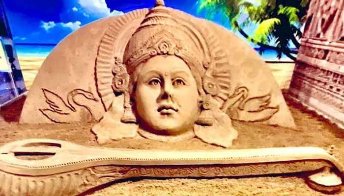 On Basant Panchami, Sudarsan Pattnaik shares breathtaking sand art of Goddess Saraswati!
