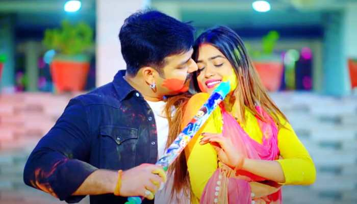 Pawan Singh's new Bhojpuri Holi 2021 song Lahe Lahe Rangab Salwara with Dimpal Singh goes viral - Watch