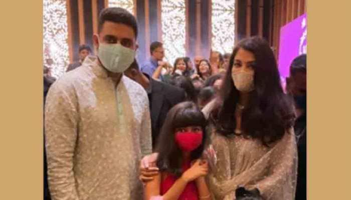 Abhishek Bachchan, Aishwarya Rai Bachchan attend cousin's wedding, pose with daughter Aaradhya for perfect family photo