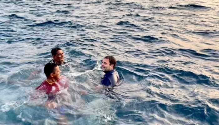 Rahul Gandhi jumps into sea in Kerala, watch video here