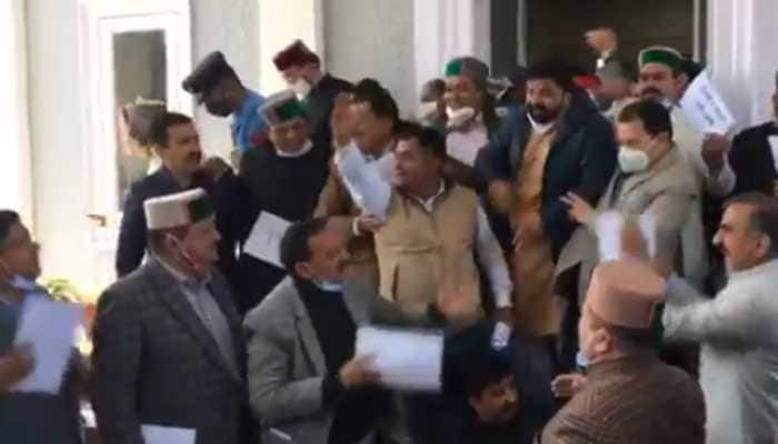 Himachal Pradesh governor 'manhandled' in Assembly complex, FIR against 5 suspended Congress MLAs: WATCH