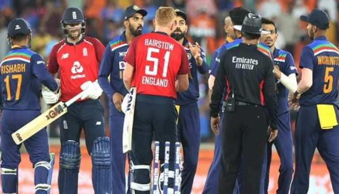 India and England players shake hands after 1st T20I (Source: Twitter)