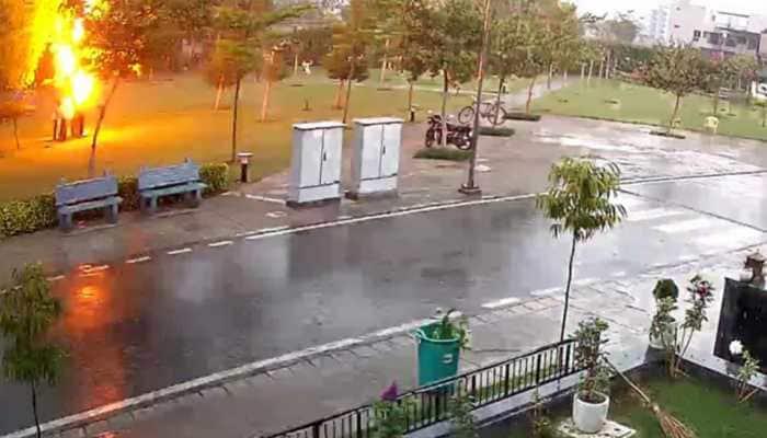 Lightning strike in Gurugram captured on CCTV, four people injured