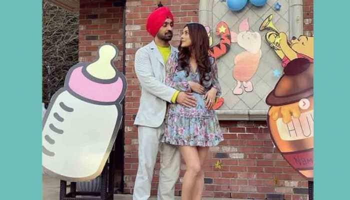 Shehnaaz Gill flaunts baby bump, shares BTS photo with Diljit Dosanjh from Honsla Rakh sets