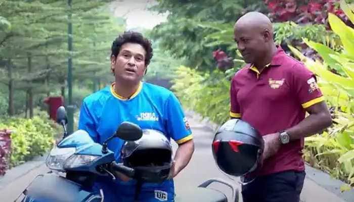 Road Safety World Series: Batting legends Sachin Tendulkar, Brian Lara enjoy scooty ride to raise awareness