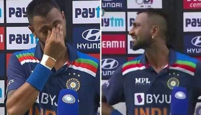 Ind vs Eng 1st ODI: Krunal Pandya breaks down in tears while remembering his dad, watch video