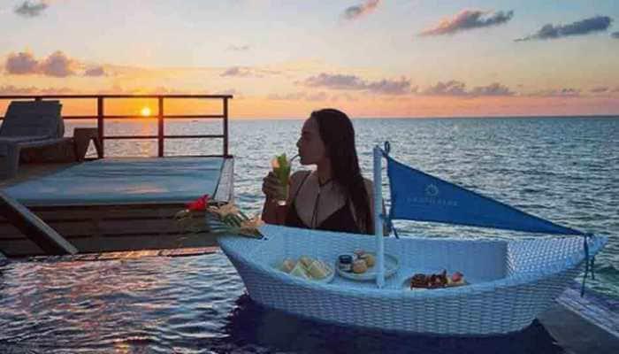 Sonakshi Sinha sips on a drink, enjoys breakfast in black swimwear in throwback photo from Maldives