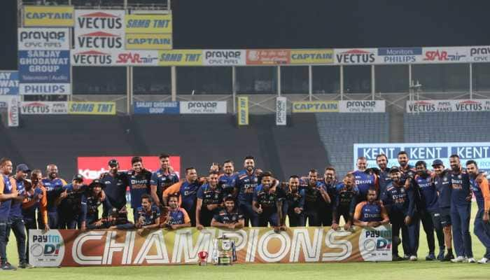 India players pose for the trophy after winning the ODI series against England