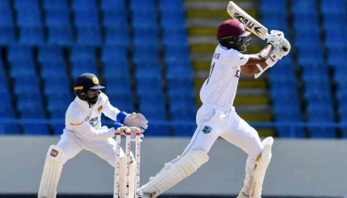 West Indies captain Kraigg Brathwaite en route to scoring an unbeaten 99 on Day 1 of 2nd Test against Sri Lanka in Antigua. (Source: Twitter)