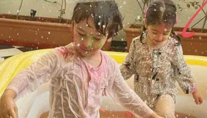 Inaaya Naumi Keemu, Taimur Ali Khan enjoy pool party, play with colours at Holi bash hosted by Kareena Kapoor
