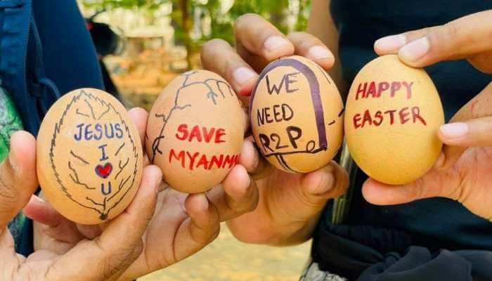 """Myanmar protesters launch """"Easter Egg Strike"""" as symbol of opposition"""