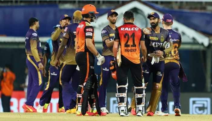 Kolkata Knight Riders' vice-captain Dinesh Karthik (right) consoles Manish Pandey of Sunrisers Hyderabad after their IPL 2021 clash in Chennai. (Photo: IPL)