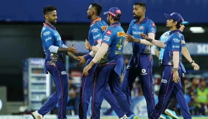 Mumbai Indians celebrate their 10-run win over Kolkata Knight Riders in the IPL 2021 clash in Chennai. (Photo: IPL)