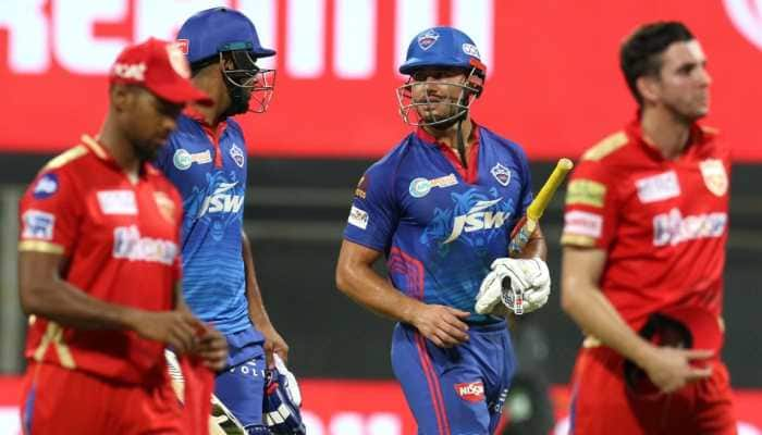 Delhi Capitals batsmen Marcus Stoinis and Lalit Yadav after their win over Punjab Kings in the IPL 2021 clash in Mumbai. (Photo: IPL)