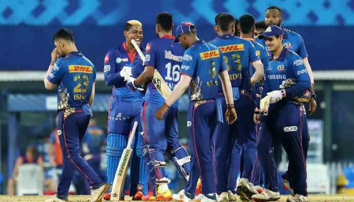 Delhi Capitals batsman Shimron Hetmeyer (centre) celebrates his team six-wicket win over Mumbai Indians in the IPL 2021 game in Chennai. (Photo: IPL)
