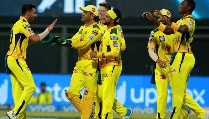 Chennai Super Kings paceman Deepak Chahar celebrates picking up a wicket with skipper MS Dhoni and the rest of the team against Kolkata Knight Riders in Mumbai. (Photo: IPL)