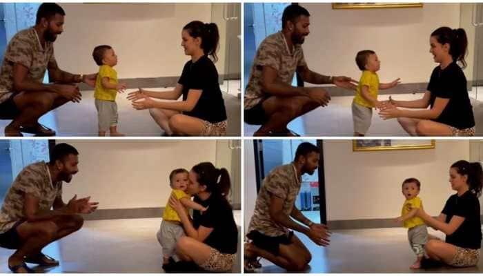 Parenting goals: Hardik Pandya and wife Natasa Stankovic teach son Agastya to walk - See pics