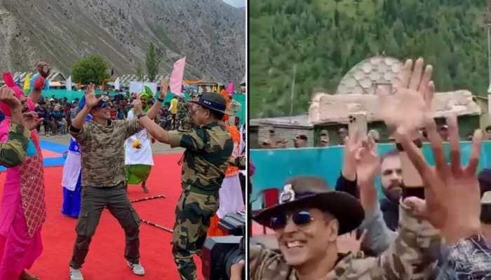 Akshay Kumar shakes a leg with BSF Jawans, locals during his Jammu & Kashmir visit - Watch!